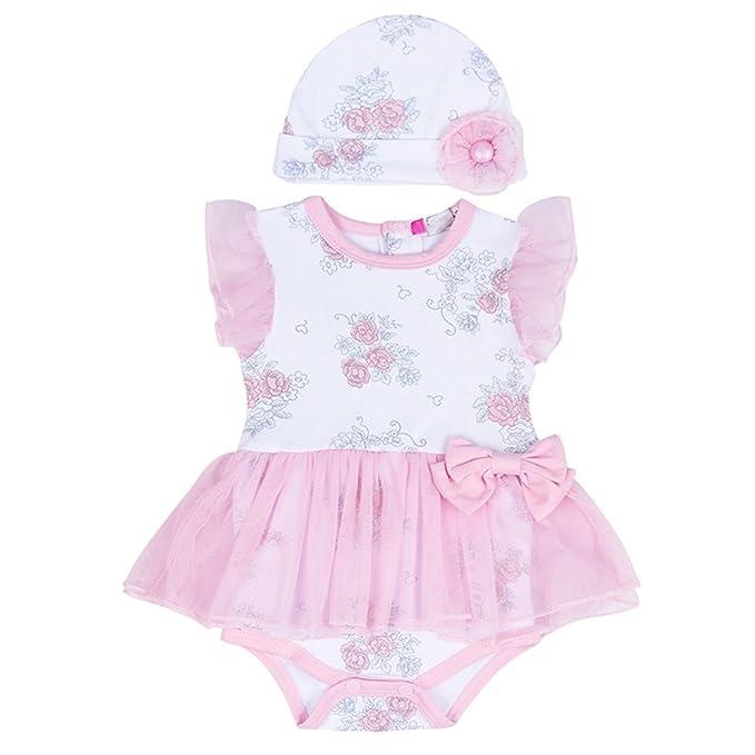 7cdc1fe72a6 puseky Newborn Baby Floral Princess Girls Mesh Tutu Romper Dress Hat  Clothes Set  Amazon.co.uk  Clothing