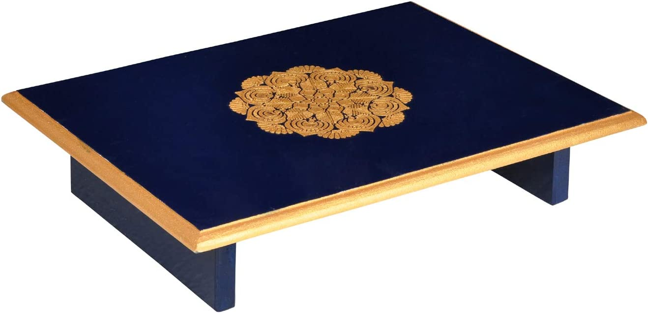 Lalhaveli Hand Painted Rectangular Blue Wooden Low Height Alter Table  Diwali Puja Chowki 9 x 9 x 9 Inch