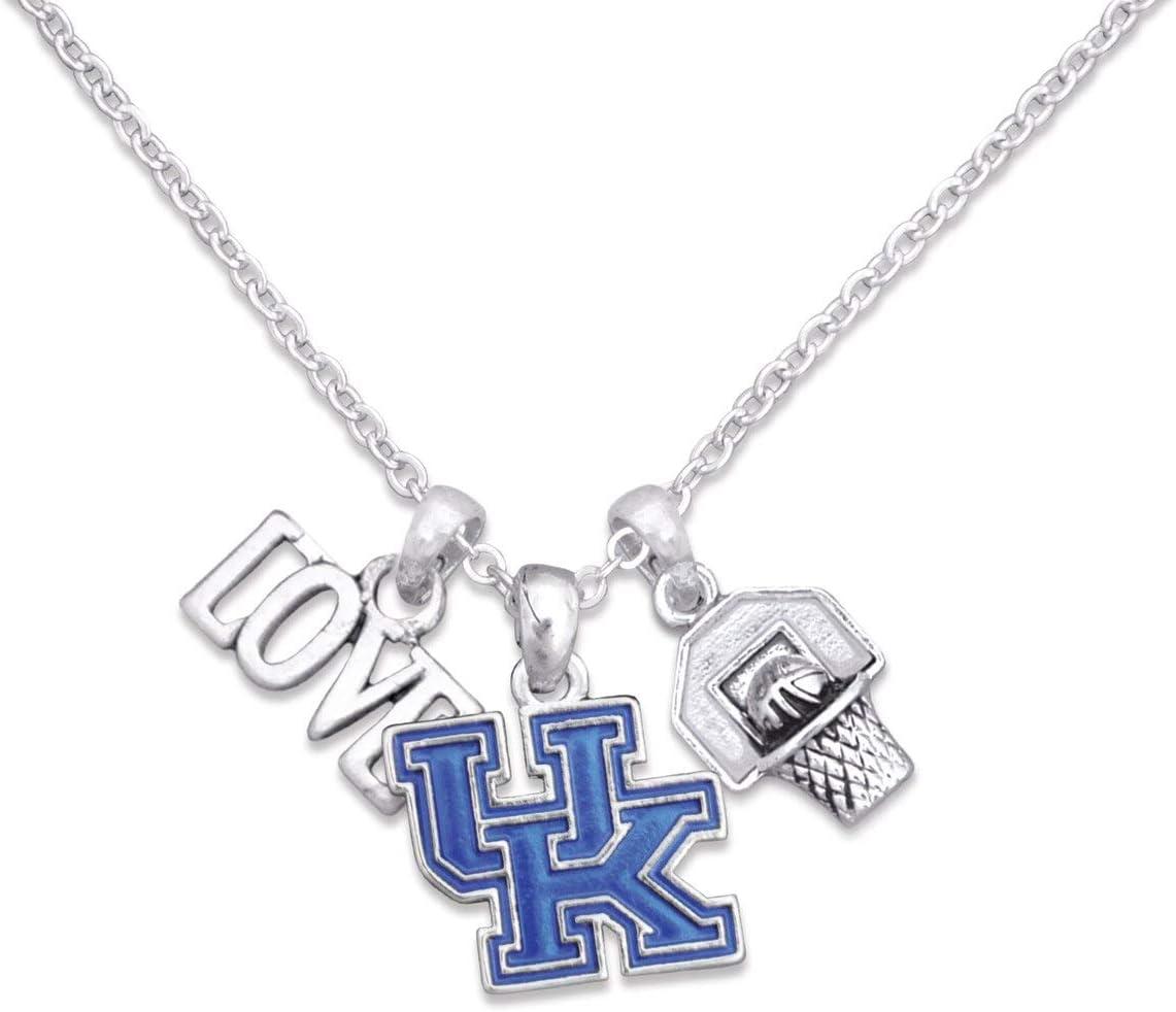 FTH Kentucky Wildcats Silver Tone Slam Dunk Basketball Charm Necklace