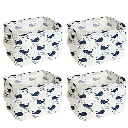 wellhouse 4 Pack Small Whale Non-Woven Storage Box Foldable Organizer Cube Basket Bin Container Box for Clothes Book Socks (Whale-4 Pack)