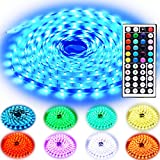 Rxment RGB LED Strip Lights with Remote 10M 32.8 Ft 5050 RGB 300LEDs Full Kit, Blue LED Light Strip, LED Lights Strip, LED Night Light, LED Christmas Lights, LED Rope Lights, LED Tape Light
