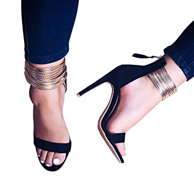 8fdab196895c1 Image Unavailable. Image not available for. Color  LALA IKAI Women Gold  Ankle Strappy Flip Flops Gladiator Sandals Flats Slip on Shoes