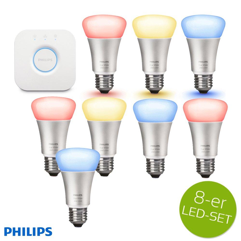 PHILIPS HUE LED Lampe 10W A60 E27 3-er Starter Set inkl. Bridge + 5x Erweiterung = 8 Leuchtmittel