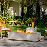 Jaxon Outdoor Fire Table with Lava Rocks & Tank Holder (Light Grey)