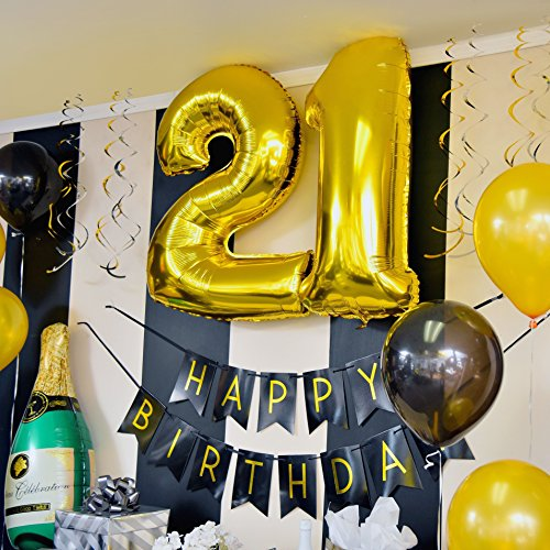 Amazon Sterling James Co 21st Birthday Party Pack Black Gold Happy Bunting Poms And Swirls Decorations
