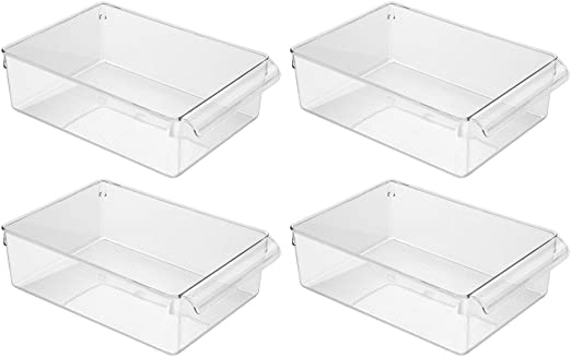 InterDesign Linus Caja para almacenaje, organizador para la cocina de plástico de tamaño grande, juego de 4 cajas con asas, transparente: Amazon.es: Hogar