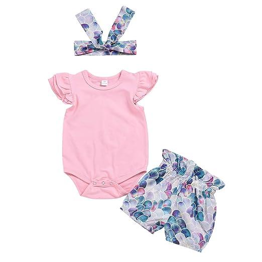 c47578874cfc Infant Toddler Baby Girl Outfit Plain Ruffle Fly Sleeve Romper Bodysuit Top  Mermaid Shorts Headband Summer