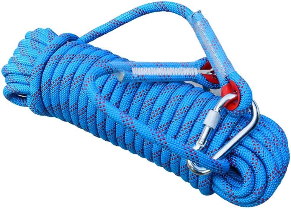 クライミングロープ、ブルー直径10mm / 12mm / 14mmロッククライミングロープ、10M、15M、20M、30M、アウトドア探検救助用ロープ、高強度ナイロンロープ安全ロープ(色:直径-14mm、サイズ:30M) Diameter-14mm 30M