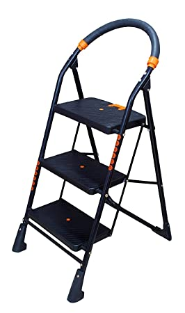 Parasnath Prime Black Heavy Folding Ladder with Wide Steps Milano 3 Steps 3.1 Ft Ladder Made in India
