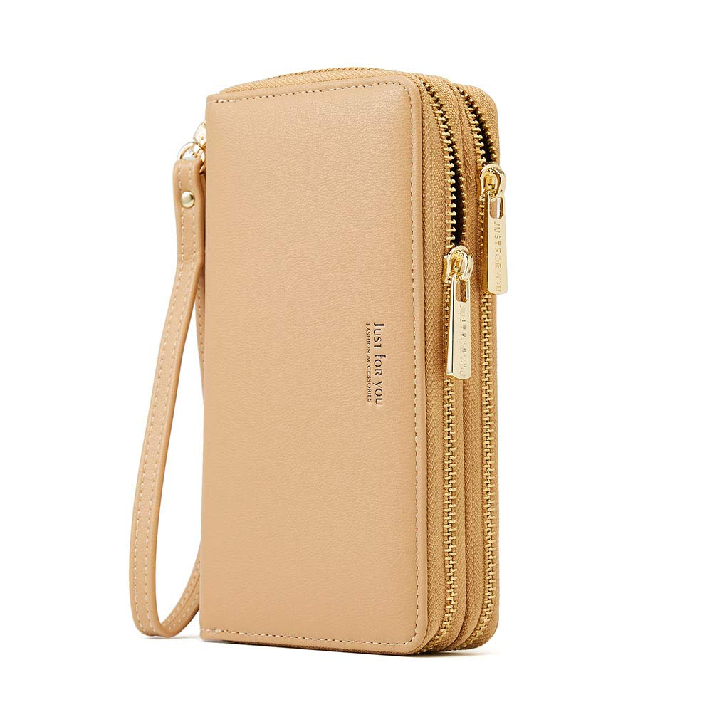 Cyanb PU Leather Wristlet Cellphone Clutch Wallet Long Purse with Dual Zipper Removable Wrist Strap