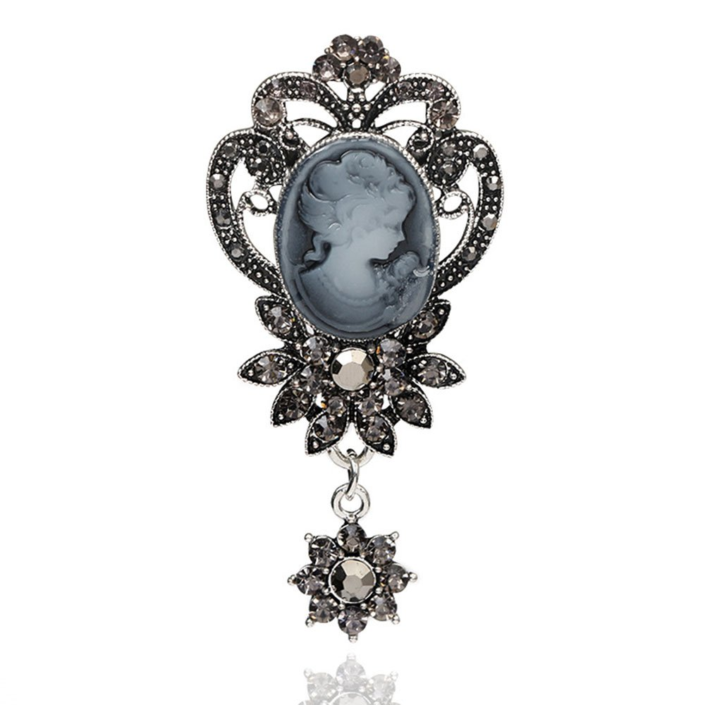 Retro Relievo Dowager Head Hollow Flowers Brooch with Zirconia for Women MINGHUA .