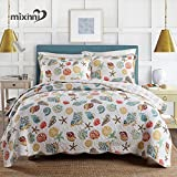 mixinni Super Soft Coral Ocean Bedding Set Seashells Beach Theme Patchwork Quilt Set Comforter Set(1 Quilt and 2 Shams)-Queen Size