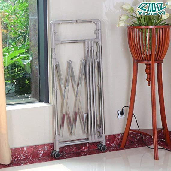 Amazon.com: LE Stainless Steel Floor Drying Rack,Telescopic Drying Rack Balcony Land Hanger Folding Indoor and Outdoor Drying Rack A: Home & Kitchen