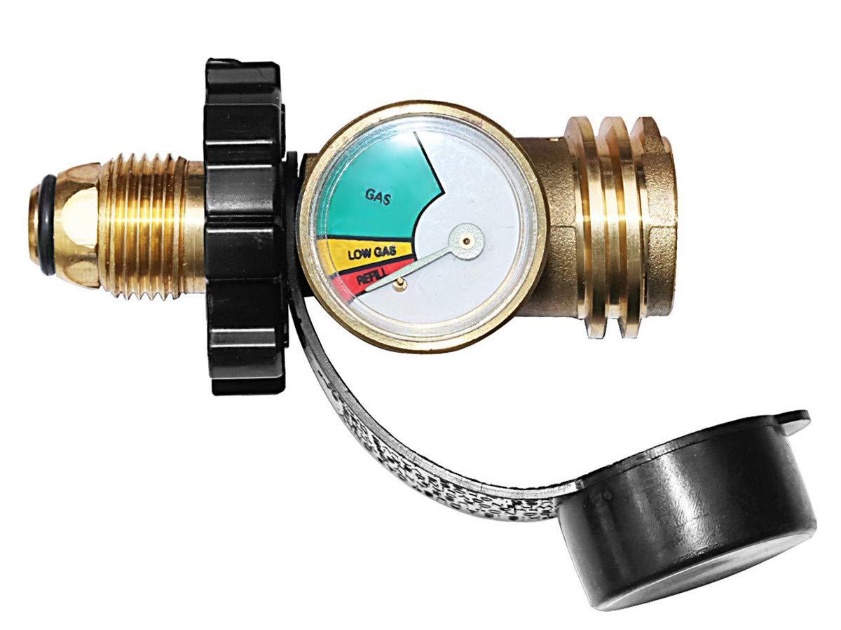 Medidor de nivel del tanque de propano actualizado, detector de fugas de gas, medidor de presión, convierte POL a QCC1 / tipo 1, para camping RV, cilindro, ...