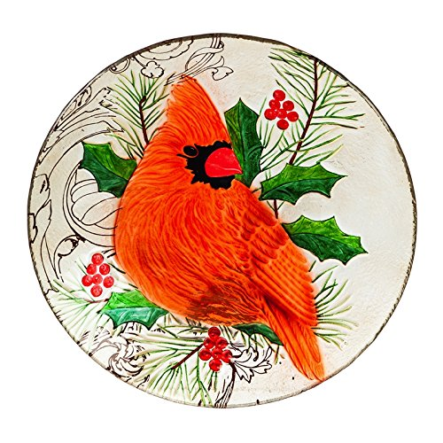 Evergreen Cardinal Glass Birdbath, 18 inch Diameter