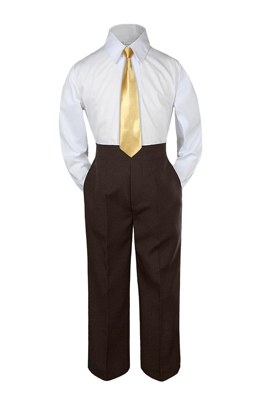 Leadertux 3pc Formal Baby Toddler Boys Mustard Necktie Brown Pants Suits Set S-7 18-24 months XL: