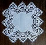 Square Doily or Placemat in Antique White European Lace, Size 15 inches