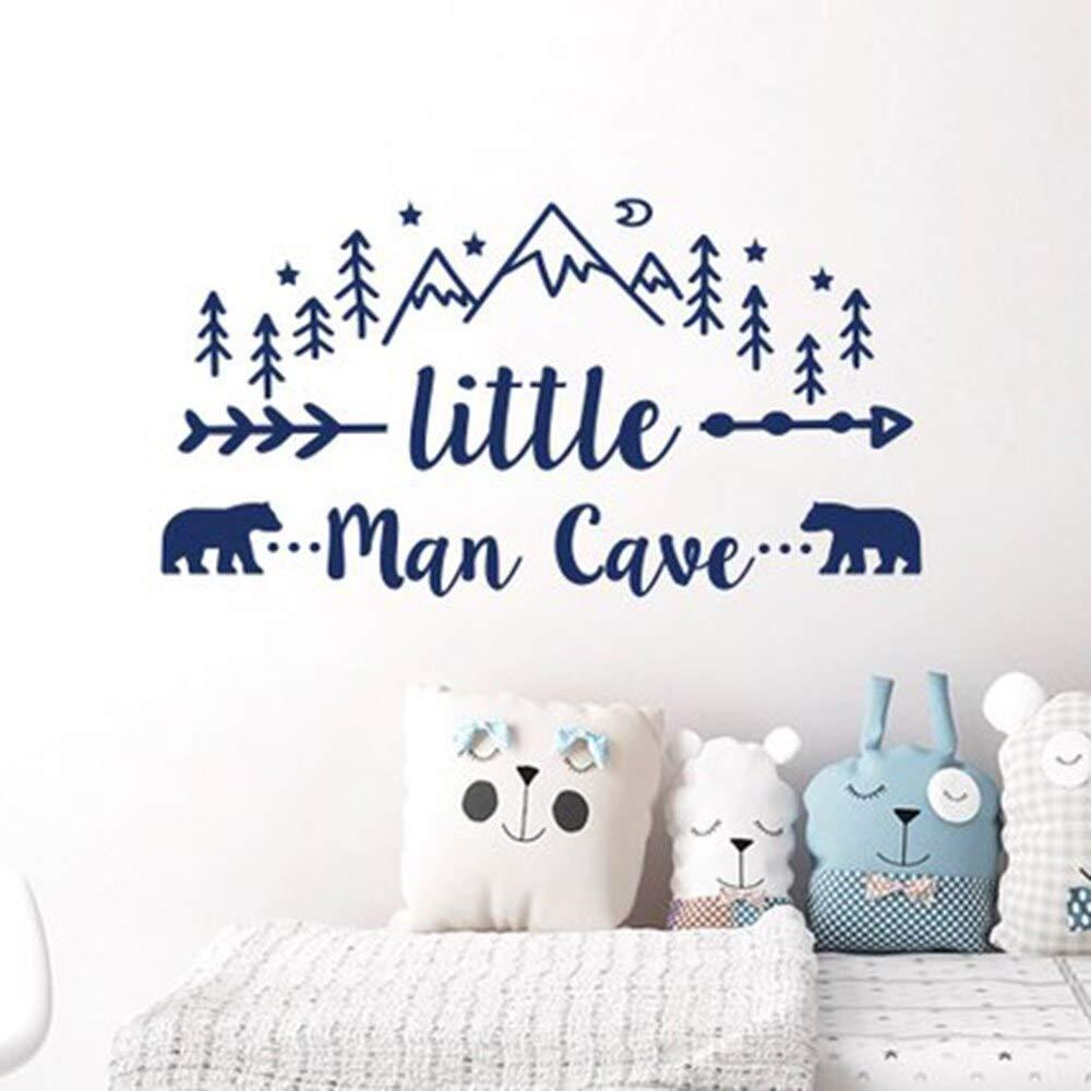 Little Man Cave Arrow Decal Vinyl Wall Sticker for Kids Nursery Room Modern Wall Art Home Decor for Bedroom 56X30Cm