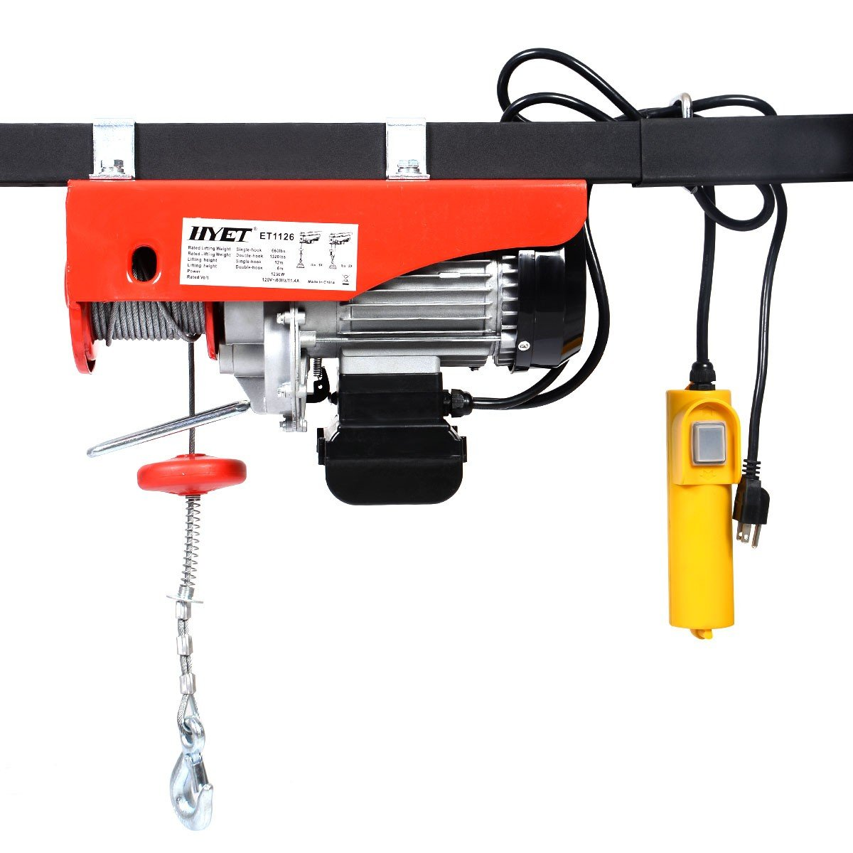 Electric Wire Hoist Lift with Remote Control Heavy Duty Lift Handyman Jack Auto Farm Power Tools Electric Wire Hoist Remote Control Garage Auto Shop Overhead Lift 1320lbs Mini 2pcs BESTChoiceForYou