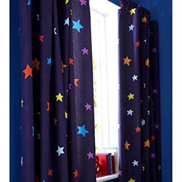 Outer Space Blue Tab Top Bedroom Curtains 66