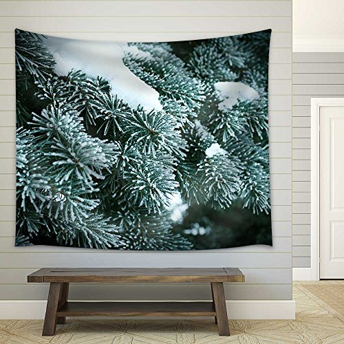 Winter Frost on Spruce Christmas Tree Close Up Shallow Depth Of Field Fabric Wall Tapestry