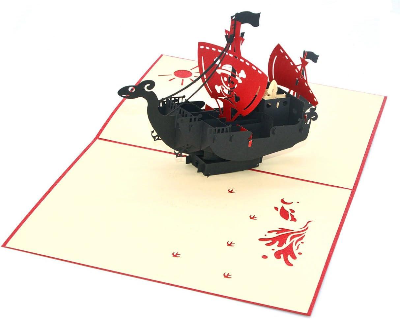 Medigy 3D Pop Up tarjetas pirata barco en blanco tarjetas de felicitaci/ón para Occastions m/ás