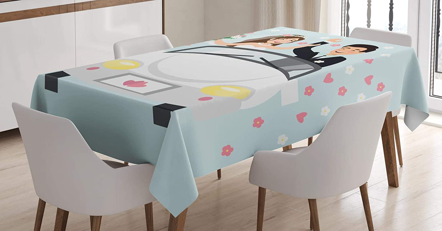 Lunarable Just Married Tablecloth, Illustration of Married Couple Driving a White Car in Honeymoon Trip Flowers, Dining Room Kitchen Rectangular Table Cover, 60 W X 84 L Inches, Multicolor