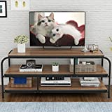 LITTLE TREE TV Stand, 60 Entertainment Center with Shelves, Large 3-tier Media Console Table for Living Room, Heavy Duty Metal Frame & Wood, Oak