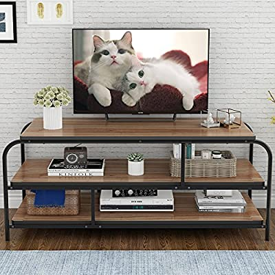 """LITTLE TREE 60"""" TV Stand, Entertainment Center with Shelves, Large 3-Tier Media Console Table for Living Room, Heavy Duty Metal Frame, Oak - ✅Heavy-duty TV Stand: 0.98"""" * 0.98"""" Heavy duty metal frame combine with 1.18"""" thick particle board makes the it super stable and sturdy, no serious shake or movement. ✅Hold up tvs to 58"""": with its open frame designs, this industrial console stand provide vast storage space. It accommodates flats panel tvs ups to 60"""" wide. 2 tier open shelves hold perfectly your AV components and gaming consoles. ✅Reliable Television Stands: with mechanical design and black powder coated metal frame ensure stability and durability.Make the max load capacity is 300 lbs. - tv-stands, living-room-furniture, living-room - 61hVx2dzP7L. SS400  -"""