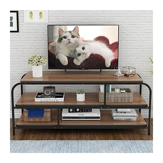 """LITTLE TREE 60"""" TV Stand, Entertainment Center with Shelves, Large 3-Tier Media Console Table for Living Room, Heavy Duty Metal Frame, Oak - ✅Heavy-duty TV Stand: 0.98"""" * 0.98"""" Heavy duty metal frame combine with 1.18"""" thick particle board makes the it super stable and sturdy, no serious shake or movement. ✅Hold up tvs to 58"""": with its open frame designs, this industrial console stand provide vast storage space. It accommodates flats panel tvs ups to 60"""" wide. 2 tier open shelves hold perfectly your AV components and gaming consoles. ✅Reliable Television Stands: with mechanical design and black powder coated metal frame ensure stability and durability.Make the max load capacity is 300 lbs. - tv-stands, living-room-furniture, living-room - 61hVx2dzP7L. SS570  -"""