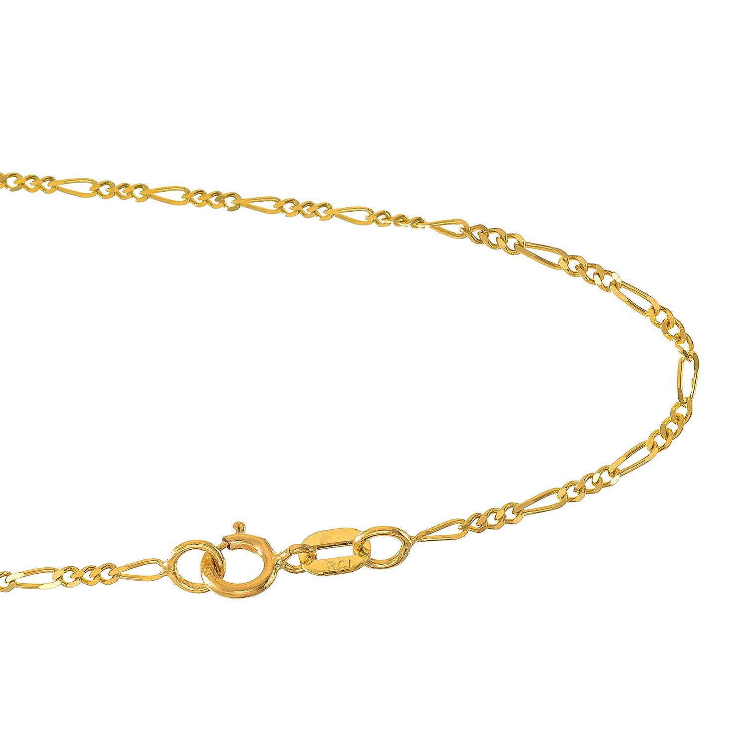 JewelStop 14k Solid Yellow Gold 1.3 mm Figaro Chain Anklet, Spring Ring Clasp - 10''