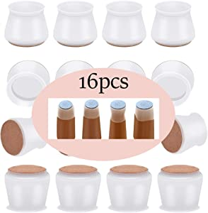 16Pcs Chair Leg Protectors for Hardwood Floors with Felt Bottom, Silicone Chair Leg Covers Floor Protectors for Table Feet, Soft Furniture Chair Leg caps for Mute Moving and Prevent Scratches,White