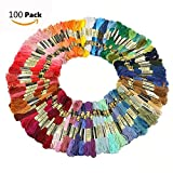Cisixin 100 Skeins of 8M Multi-color Soft Cotton Cross Stitch Embroidery Threads Floss Sewing Threads (Random Color)