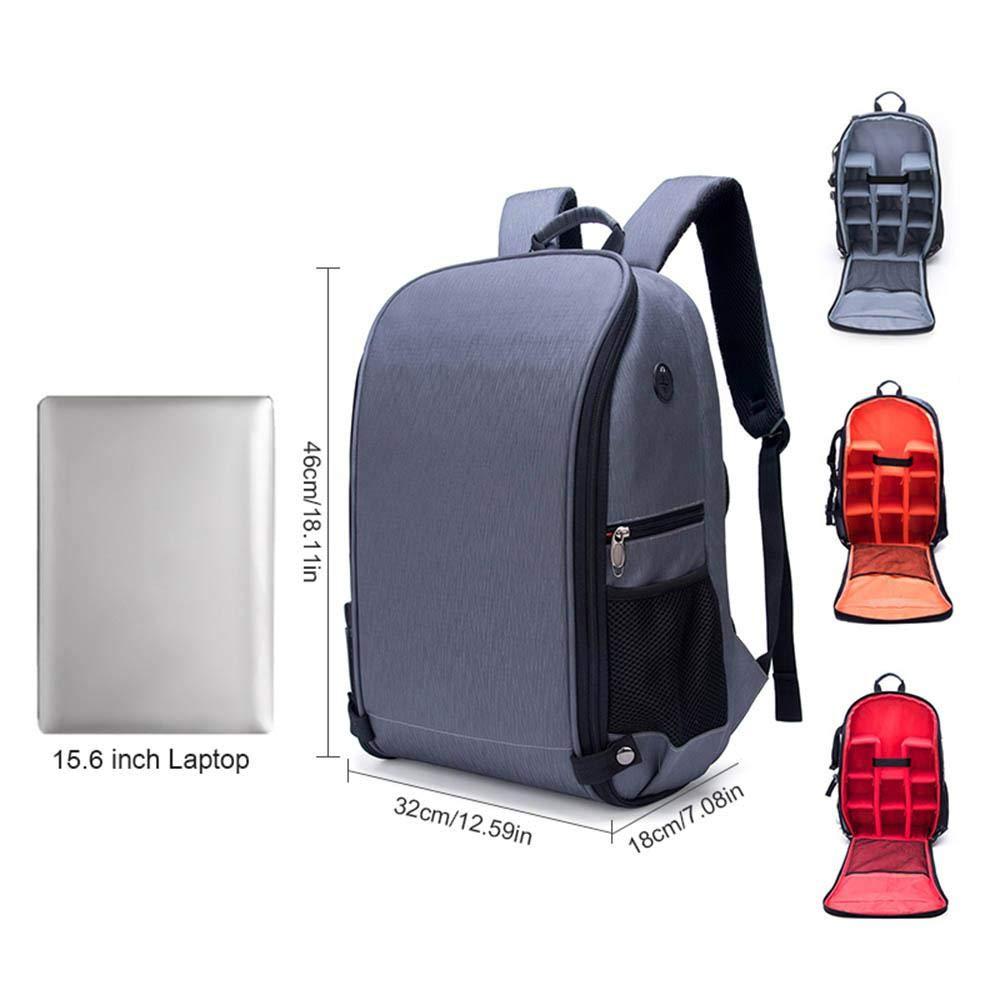mochila de viaje para fotograf/ía para port/átil de 15,6 pulgadas Mochila para c/ámara r/éflex digital Alovo Antirrobo con funci/ón impermeable y a prueba de golpes rojo lentes y accesorios