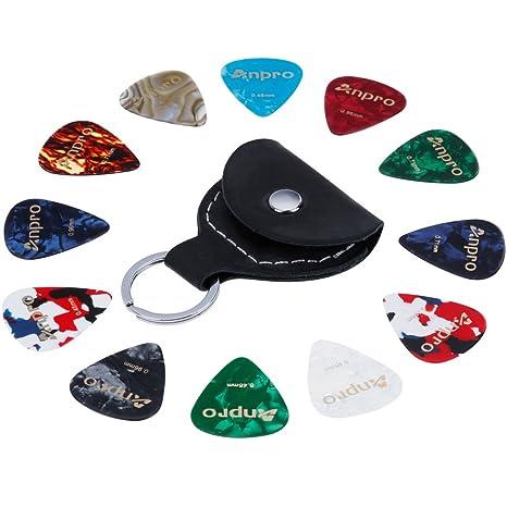 Anpro 12 Púas para Guitarra Incluido 0.46mm 0.71mm 0.96mm y 1 Paquete de Cuero Titular de Recogida Llavero