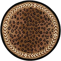 Safavieh Chelsea Collection HK15A Hand-Hooked Black and Brown Premium Wool Round Area Rug (3 Diameter)