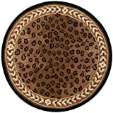 Safavieh Chelsea Collection HK15A Hand-Hooked Black and Brown Premium Wool Round Area Rug (3' Diameter)