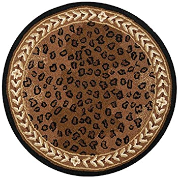 Safavieh Chelsea Collection HK15A Hand-Hooked Black and Brown Premium Wool Round Area Rug (4 Diameter)