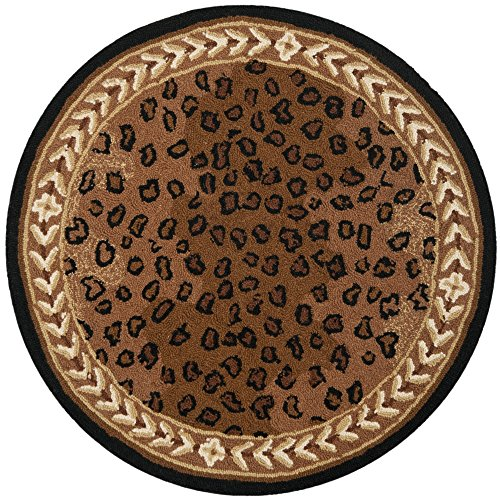 Safavieh Chelsea Collection HK15A Hand-Hooked Black and Brown Premium Wool Round Area Rug (3' Diameter) (Rug Leopard)