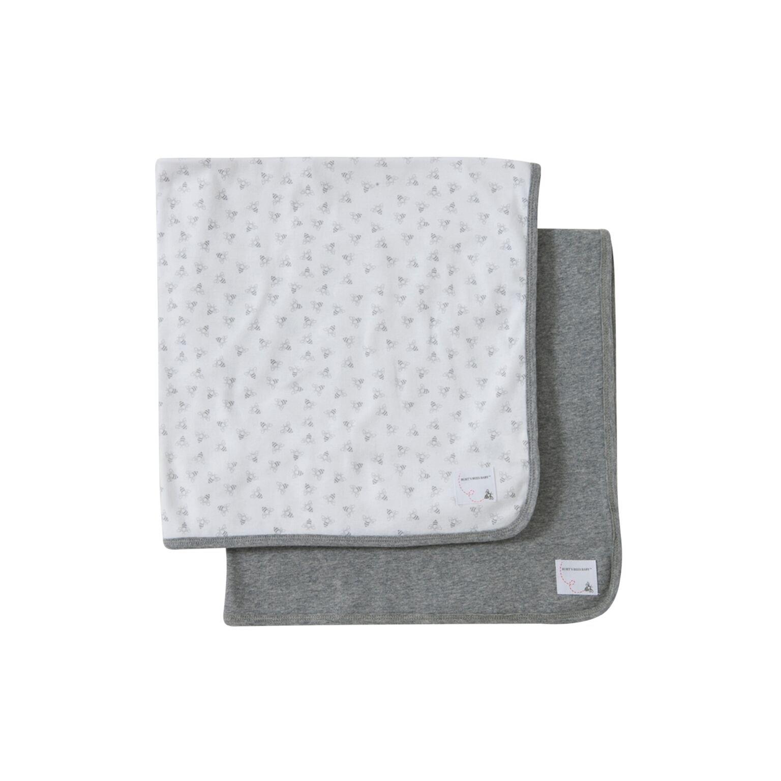 Burt's Bees Baby - Baby Blankets, Set of 2, 100% Organic Cotton Bee Essentials 1 Ply Blankets (1 Solid + 1 Honeybee Print, Heather Grey)