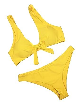 bffee46e488d8f Amazon.com: dilinte Ladies' Seamless Bikini Set Tank Padded Reversible Swimsuit  Solid Color Knot Swimwear: Clothing