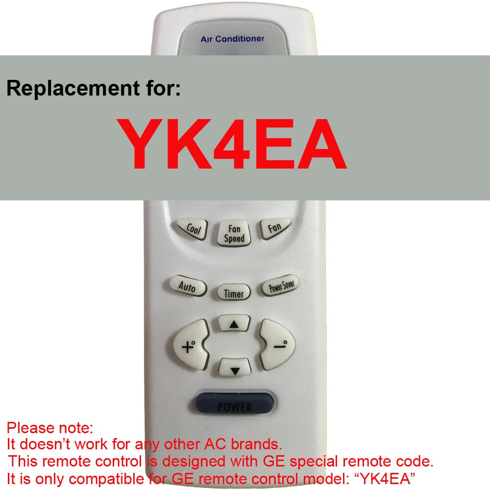Replacement for GE Air Conditioner Remote Control Model Number YK4EA Works for AEH18DL AEH18DLG1 AEH18DM AEH18DMG1 AEH24DJ AEH24DJH1 AEH24DK AEH24DKH1 AEH25DL AEH25DLH1 AEH25DM AEH25DMH1 AEM14AM by Generic (Image #1)