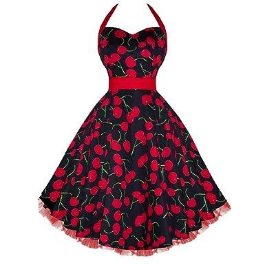 6bbae84d61a Amazon.com  H R London Big Cherry Halter Pinup Dress Black Red  Clothing