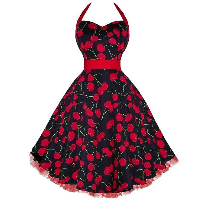 a80c16049a88 H&R London Big Cherry Halter Pinup Dress Black Red