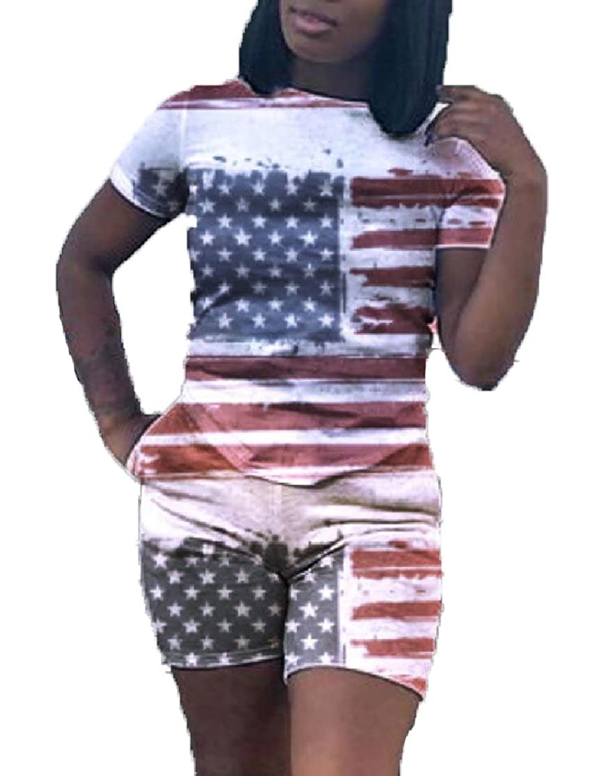 Gocgt Women 2PC Flag Printing and Shorts US Active Top Suits