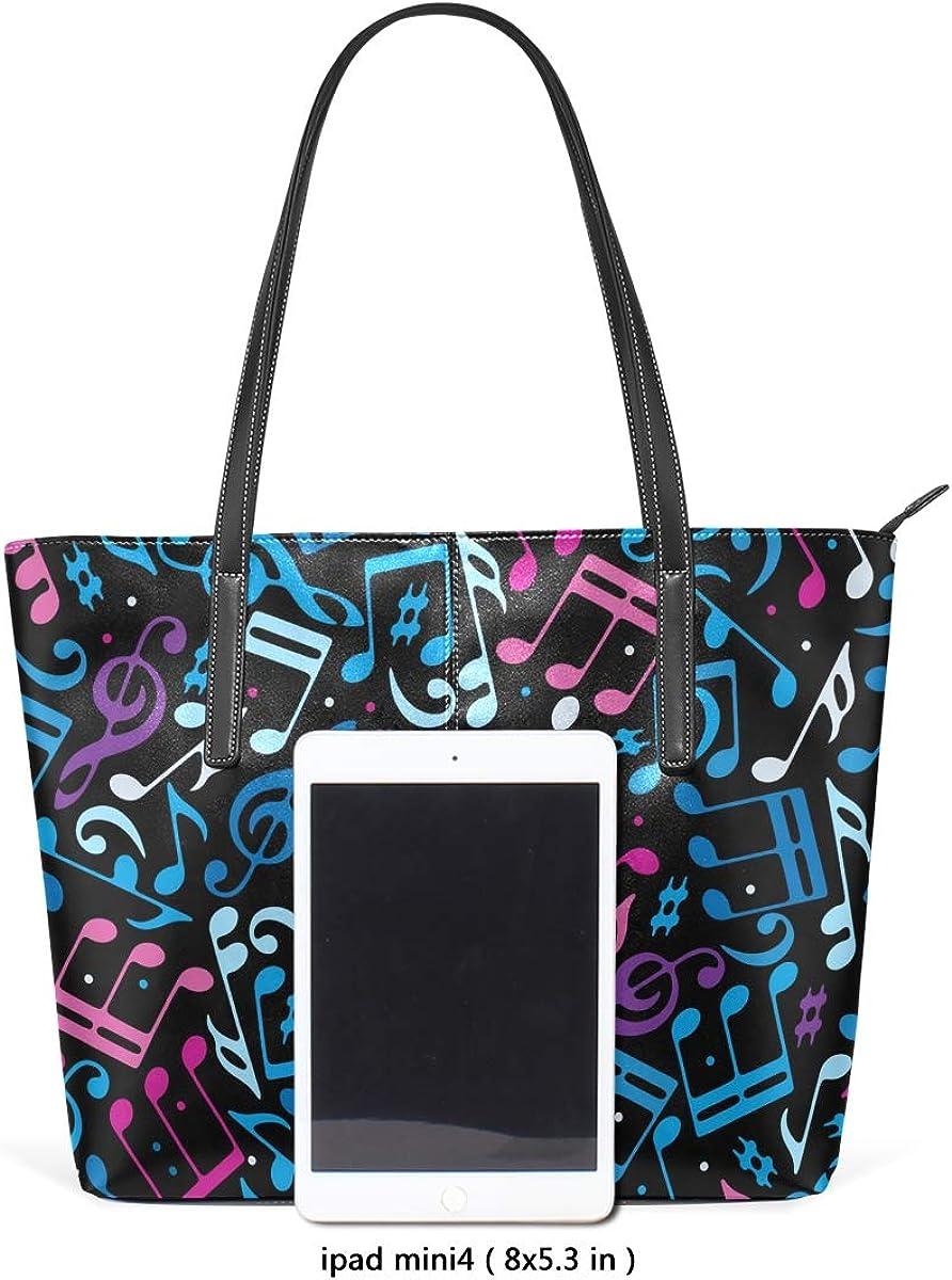 FANTAZIO Handbag Shoulder Colorful Dotted Music Seamless Pattern Shoulder Handbag