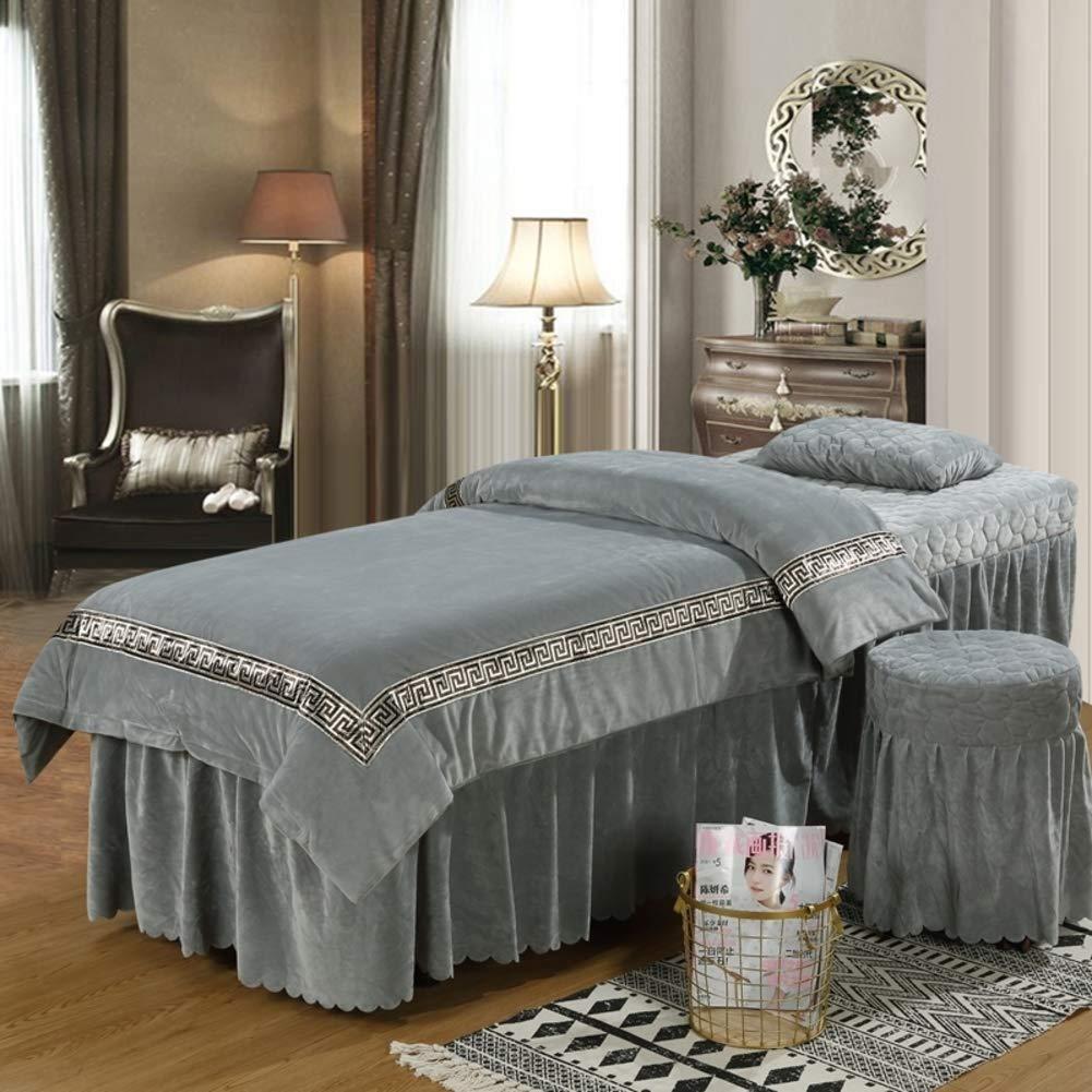 肌に優しい クリスタル ベルベット 美容ベッド カバー,マッサージ テーブル シート セット 純粋な色, 4 個セット ビューティーサロンマッサージスパ ベッド 顔の残りの部分の穴を-グレー B07S84BLWK