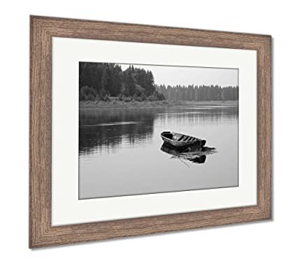 Amazon.com: Ashley Framed Prints A Long Wooden Boat of Siberian ...