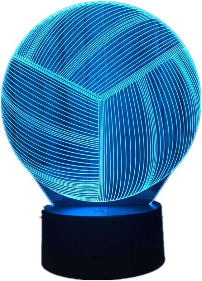 KangYD Voleibol creativo 3D Luz nocturna, Luz LED, Regalo de decoración del hogar, Reloj despertador Base 7 Color,Decoración del hogar: Amazon.es: Iluminación