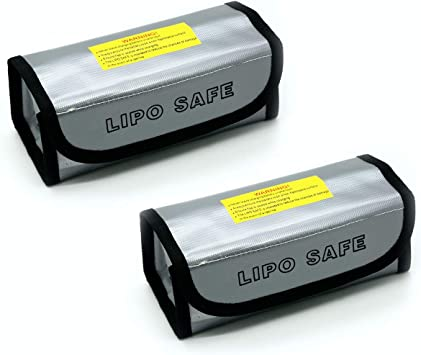 MoKo 2 PCS LIPO Battery Fireproof Explosion Proof Safe Bag Fire Resistant Safe Box Guard Storage Pouch Sack for Protecting LIPO Battery and Charging Black 185 x 75 x 60 mm